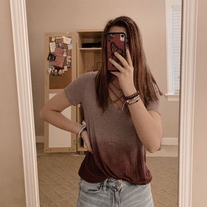 american eagle burgundy ombré soft & sexy top